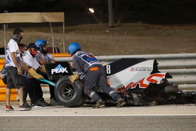 Romain Grosjean's car split in two