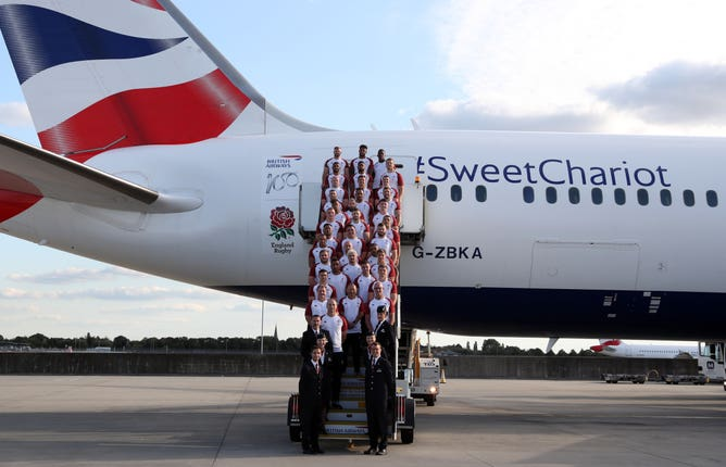 England's 31-man squad have been delayed on their arrival in Japan
