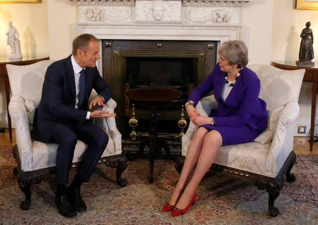 Theresa May hosted Donald Tusk for a lunch meeting at Number 10 (Frank Augstein/PA)