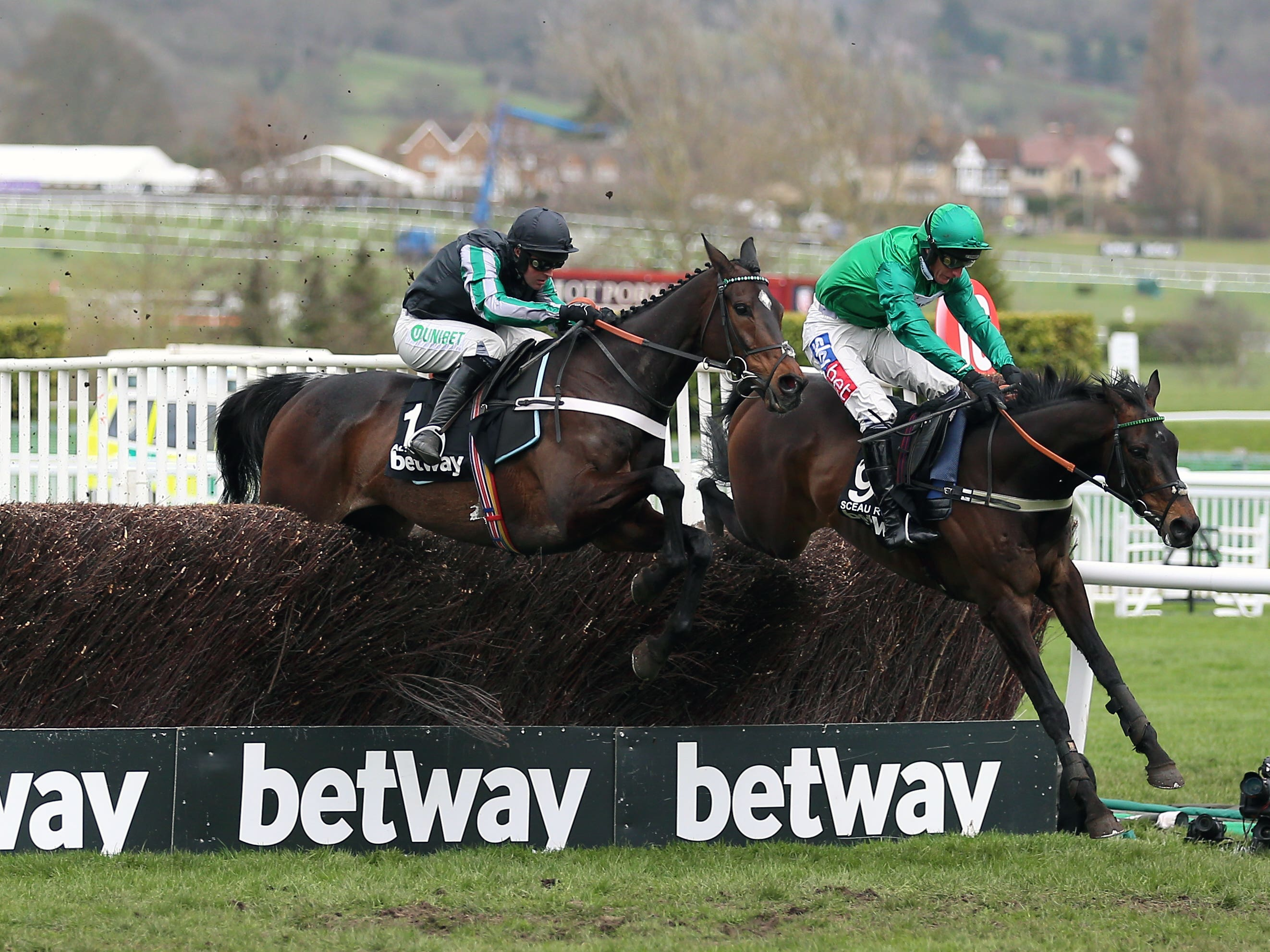 Altior (left) jumps the last in second behind Sceau Royal (Nigel French/PA)