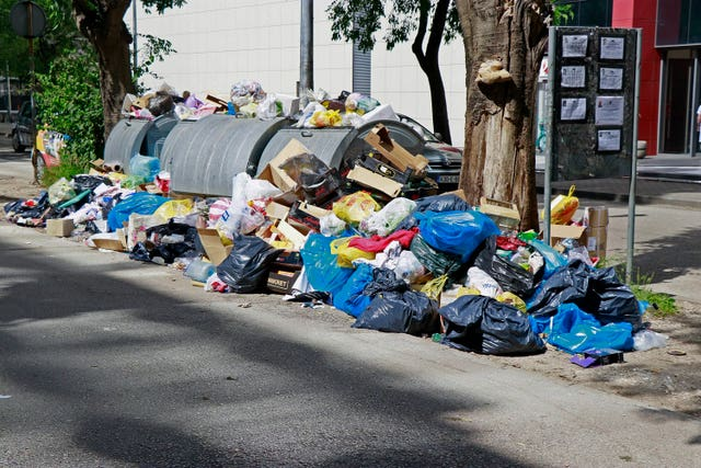 Piles of rubbish in the streets of Mostar, Bosnia