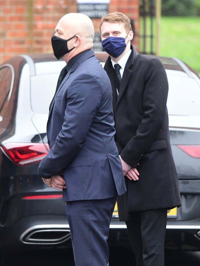 Ross Kemp, left, and Jamie Borthwick arrive at Golders Green Crematorium, north London, for the private funeral service of Dame Barbara Windsor