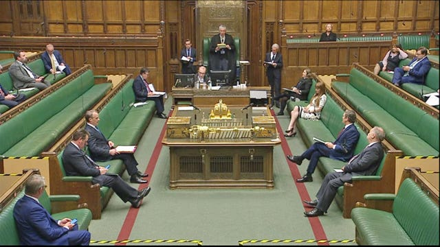 The chamber of the House of Commons in London as the Speaker calls for the start of Prime Minister's Questions