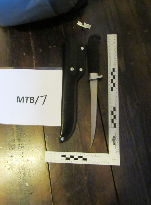 A knife that was found on the schoolboy (CPS/PA)