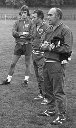 The Liverpool keeper made his England debut in November 1972 under Sir Alf Ramsey (right)
