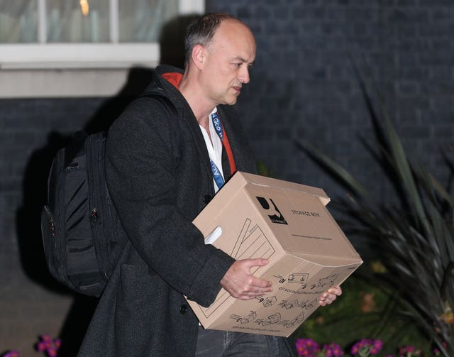 Dominic Cummings leaves Downing Street with a box