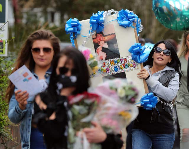 Birthday tributes were left in honour of Henry Vincent by friends and relatives (Gareth Fuller/PA)