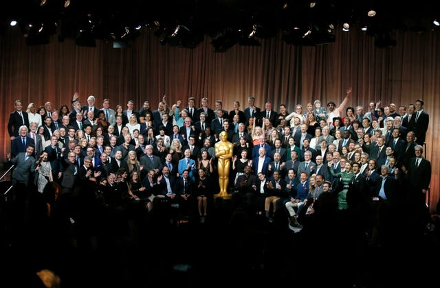 Nominees of the 90th Academy Awards pose for a group photo at the Nominees Luncheon