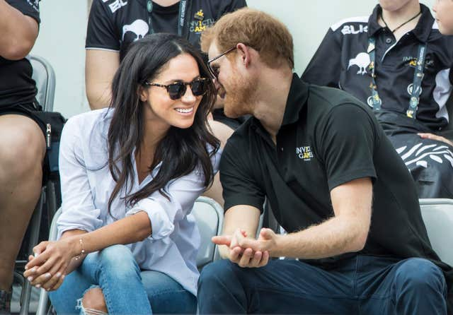 Prince Harry and Meghan Markle watching Wheelchair Tennis at the 2017 Invictus Games in Toronto, Canada (Danny Lawson/PA)