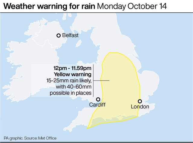 Weather warning for rain Monday October 14