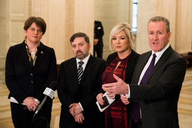 Conor Murphy, right, with First Minister Arlene Foster, Health Minister Robin Swann and Deputy First Minister Michelle O'Neill