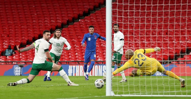 Jadon Sancho scored the pick of the goals as England eased to victory over the Republic of Ireland.