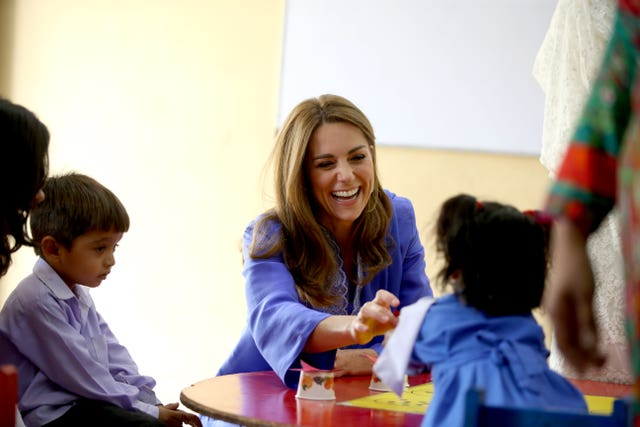 The Duchess of Cambridge during a visit to a government-run school in central Islamabad