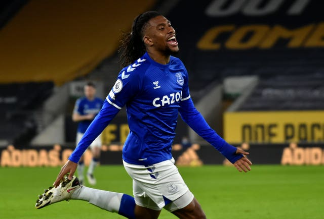 Everton's Alex Iwobi celebrates scoring against Wolves