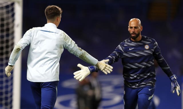 Chelsea goalkeepers Kepa Arrizabalaga, left, and Willy Caballero