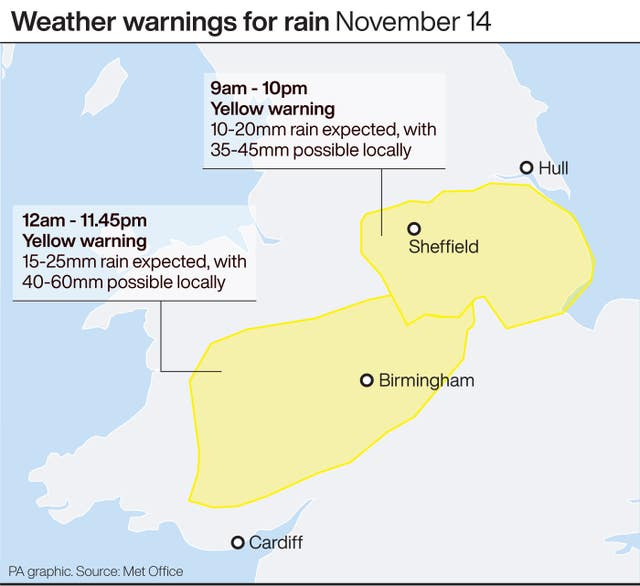 Weather warnings for rain November 14