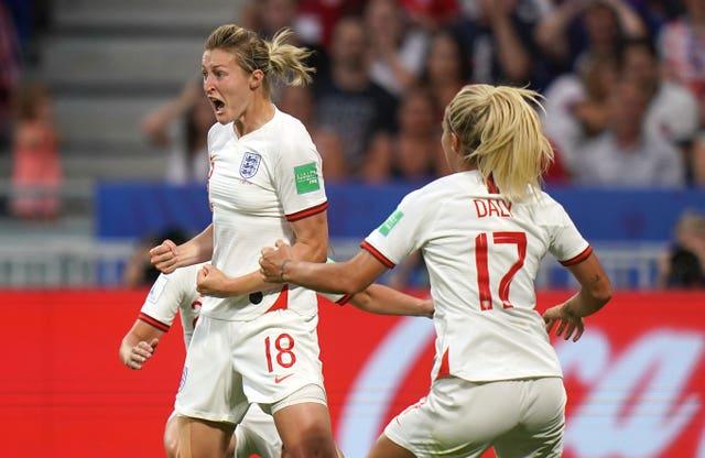 White, left, celebrates England's leveller