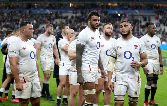England players react after their 24-17 defeat in France
