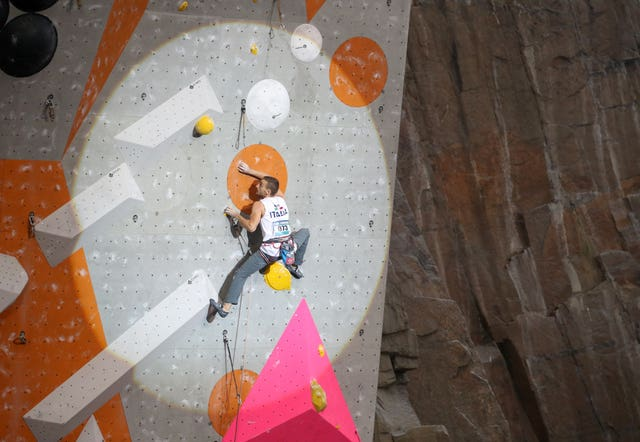 Alberto Gotta climbs in the lead semi-finals during the IFSC Climbing World Cup