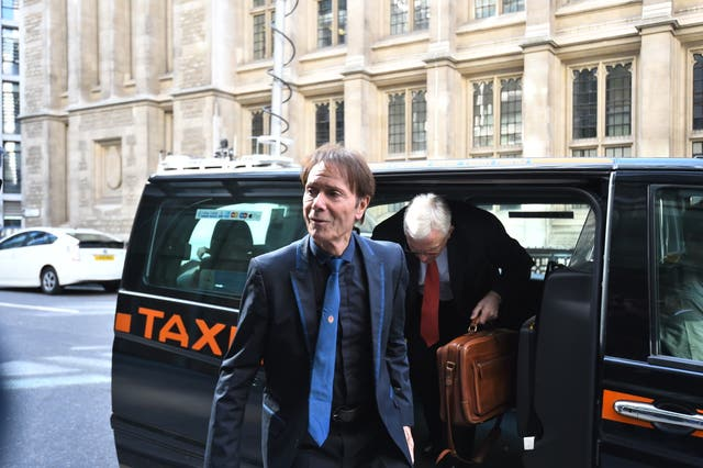 Sir Cliff Richard arrives for his continuing legal action against the BBC