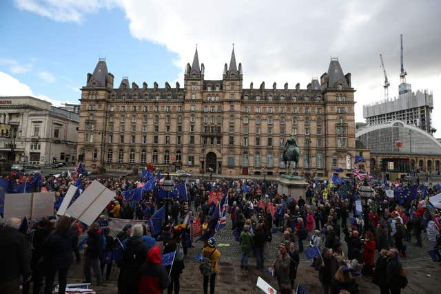 Activists calling for a second referendum gathered at St George's Plateau in Liverpool ahead of a march aimed at putting pressure on the party to change course (Peter Byrne/PA)