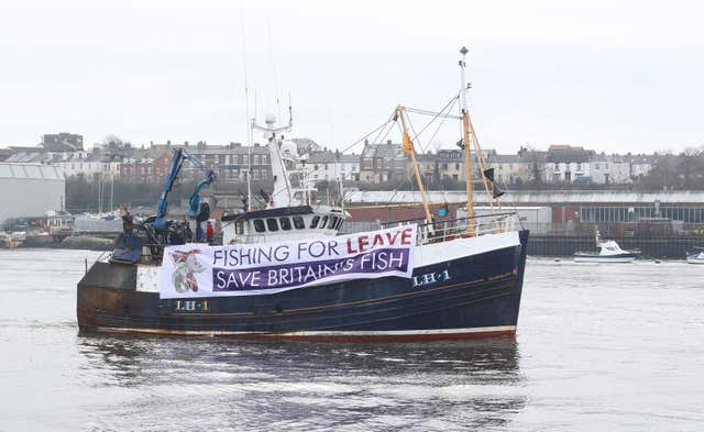 A fishing boat taking part in the Brexit protest at South Shield fish quay, near Newcastle (Owen Humphreys/PA)