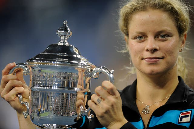 Belgium's Kim Clijsters after winning the US Open in 2010