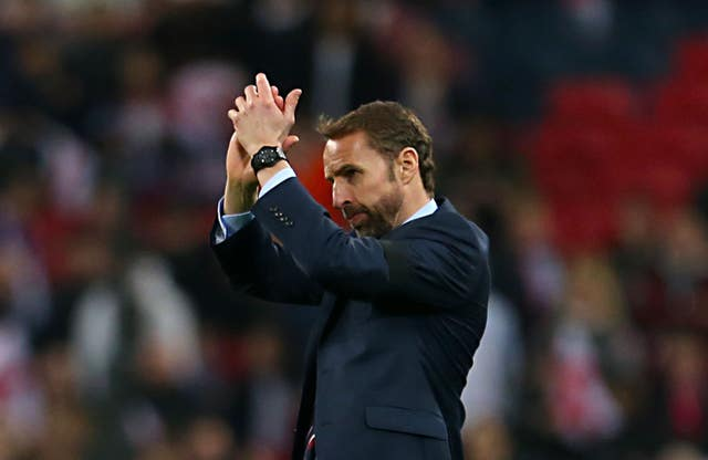 Gareth Southgate applauds the England fans after the final whistle