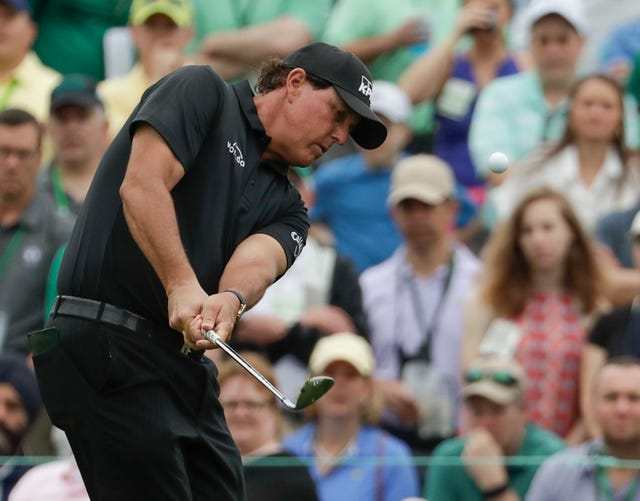 Three-time Masters champion Phil Mickelson in final round action at Augusta