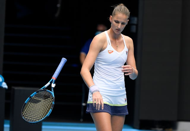 Karolina Pliskova gave her racket some rough treatment in her defeat to Karolina Muchova