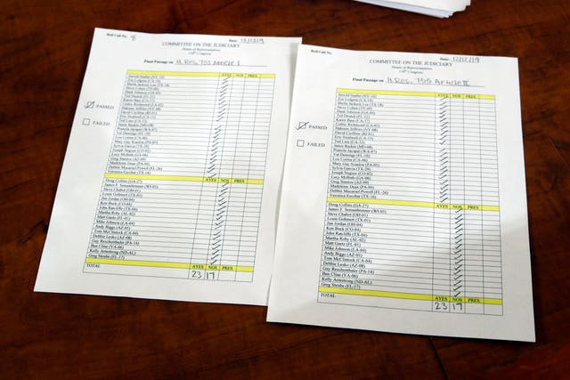 The vote recorded in the committee