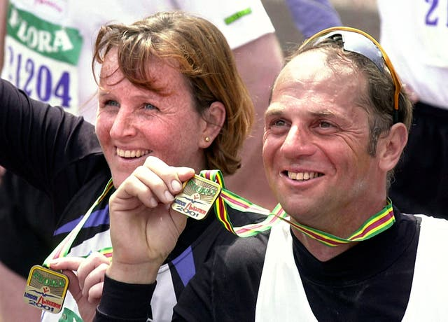 Olympic champion Steve Redgrave, who went on to win five Olympic gold medals, with his wife Ann after they completed the 2001 marathon