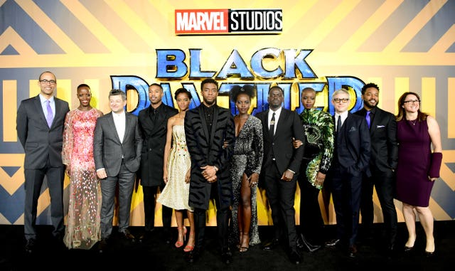 The cast and crew of Black Panther attending the film's European premiere in London