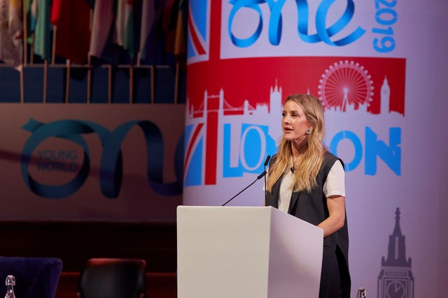 Ellie Goulding giving her speech at the One Young World summit