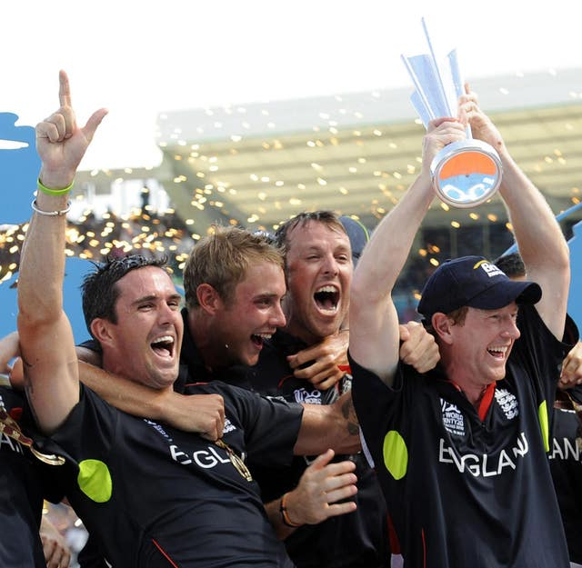 Kevin Pietersen, far left, celebrates with his England team-mates after winning the 2010 Twenty20 World Cup