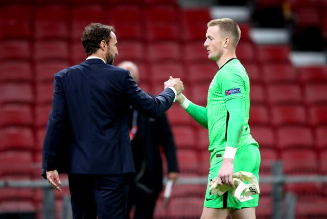 England manager Gareth Southgate, left, has backed Jordan Pickford as his first-choice goalkeeper