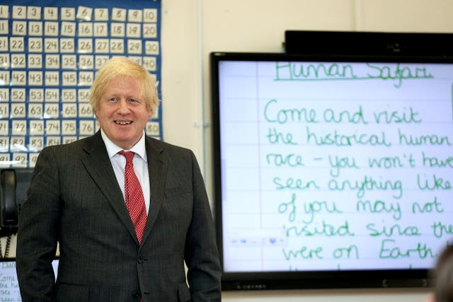 Prime Minister Boris Johnson during a visit to a school (Steve Parsons/PA)