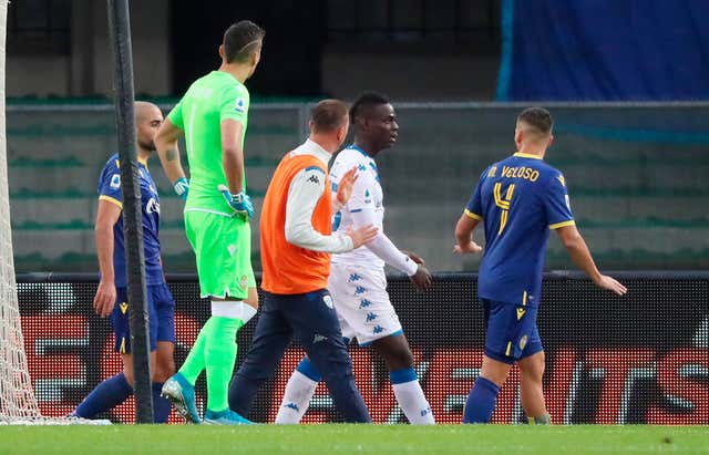 Brescia striker Mario Balotelli threatened to walk off following racist abuse from Verona fans during Sunday's Serie A match at Stadio Marc'Antonio Bentegodi (Simone Venezia/ANSA via AP)