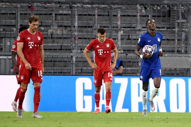 Tammy Abraham, right, claimed Chelsea's consolation against Bayern Munich