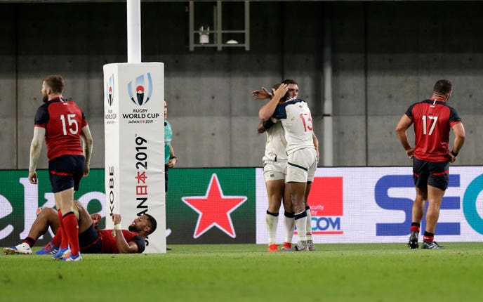 Bryce Campbell scored a last-gasp try for the USA against England