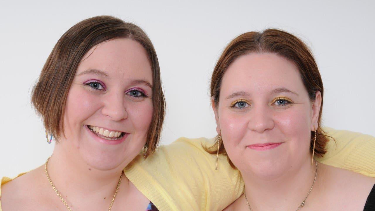 Twin sisters Katy (left) and Emma Davis,