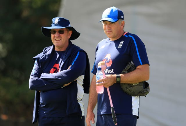 Silverwood (right) served as fast bowling coach under Trevor Bayliss (left)