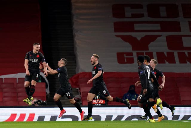 Slavia Prague scored a last-gasp leveller at Arsenal