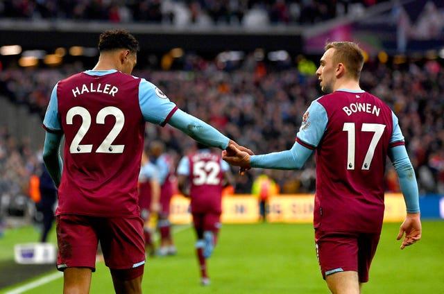 Sebastien Haller and Jarrod Bowen were both on target at the London Stadium