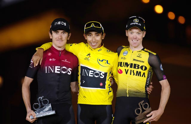 Egan Bernal, centre, Geraint Thomas, left, and Steven Kruijswijk on the Tour de France podium