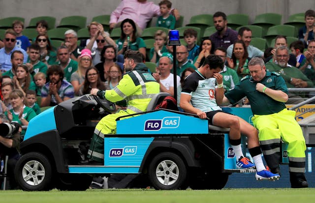 Joey Carbery was injured during Ireland's World Cup warm-up win over Italy