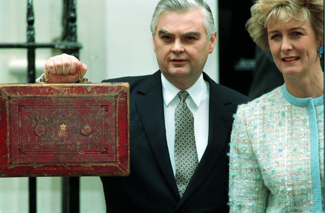 Norman Lamont, wife and budget