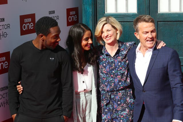 Tosin Cole, Mandip Gill, Jodie Whittaker and Bradley Walsh attending the Doctor Who premiere (Danny Lawson/PA)