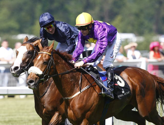 Pat Smullen won the Gold Cup at Ascot on Rite Of Passage (right)with Johnny Murtagh second on Age Of Aquarius