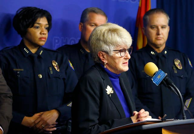 Phoenix mayor Thelda Williams speaks during a news conference